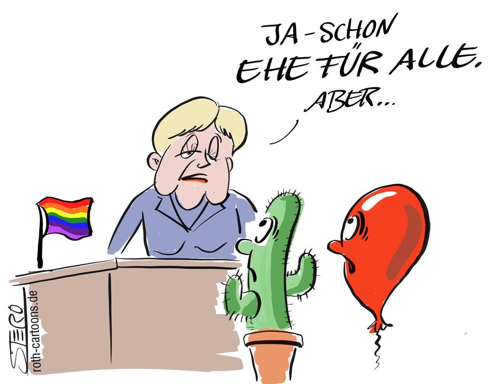 Cartoon-Karikatur-Ehe für alle