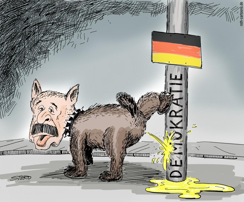 Cartoon: Erdogan pinkelt als Hund an Laterne