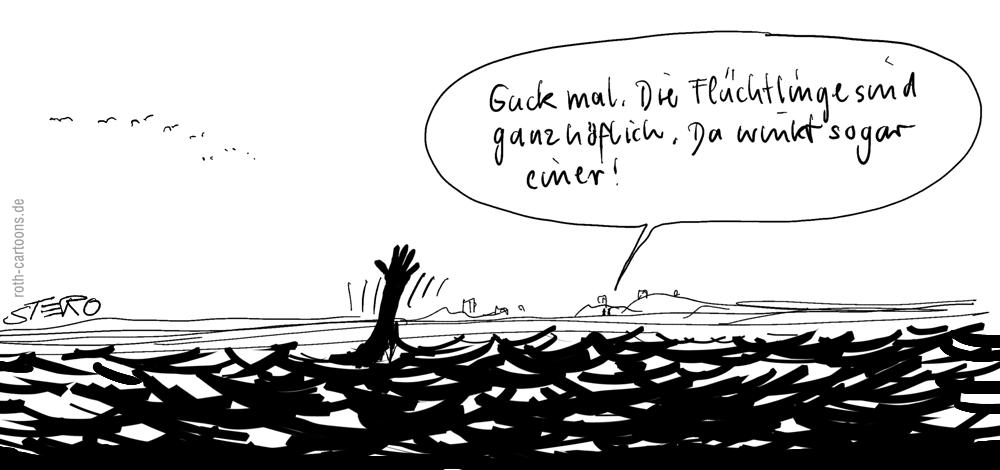 Cartoon: ertrinkender Flüchtling im Wasser ruft um Hilfe