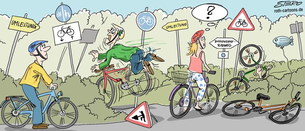 Cartoon: Verirrte Fahradfahrer in Chaos und Karambolage am radweg.