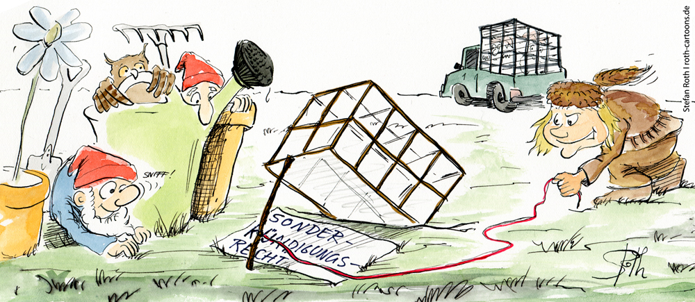 Karikatur Trapper und Gartenzwerg