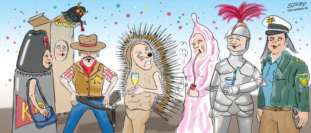 Cartoon Sicherheit an Fasnacht
