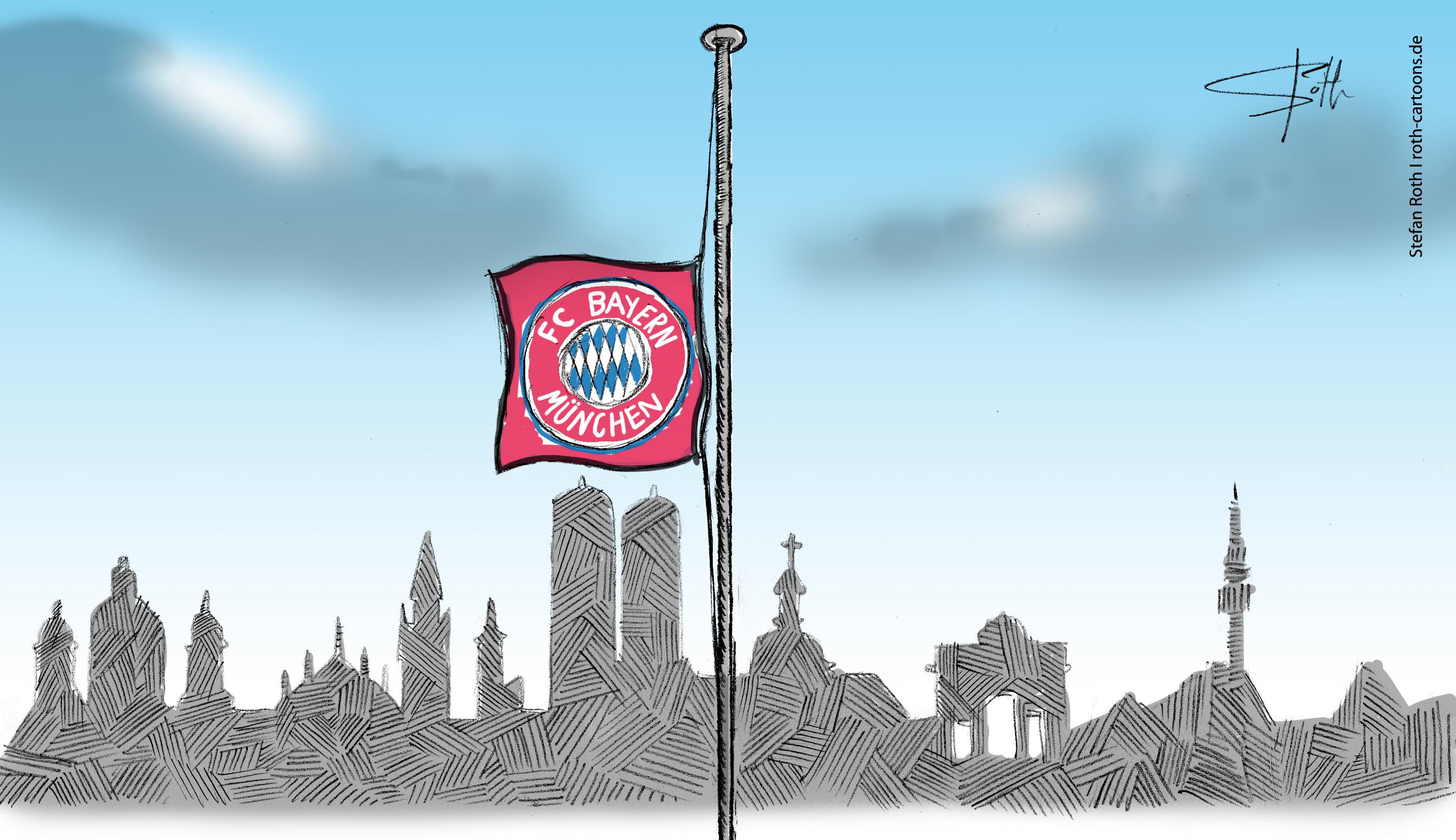 Fahne des FC Bayern auf Halbmast