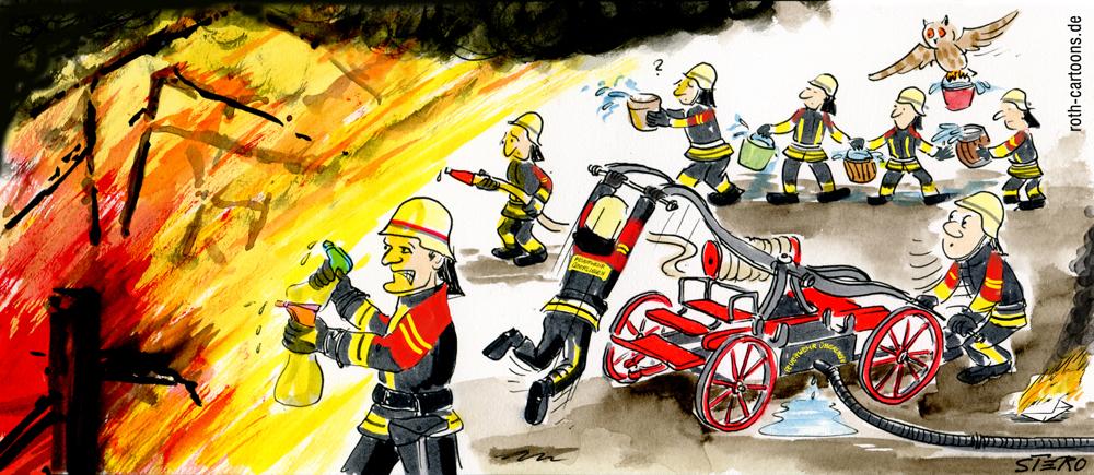 Cartoon-Feuerwehr mit alter Feuerspritze