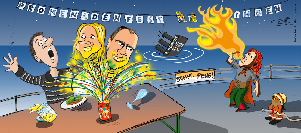 Tischfeuerwerk mit Feuerspucker