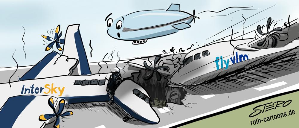 2 abgestürzte Flugzeuge Cartoon