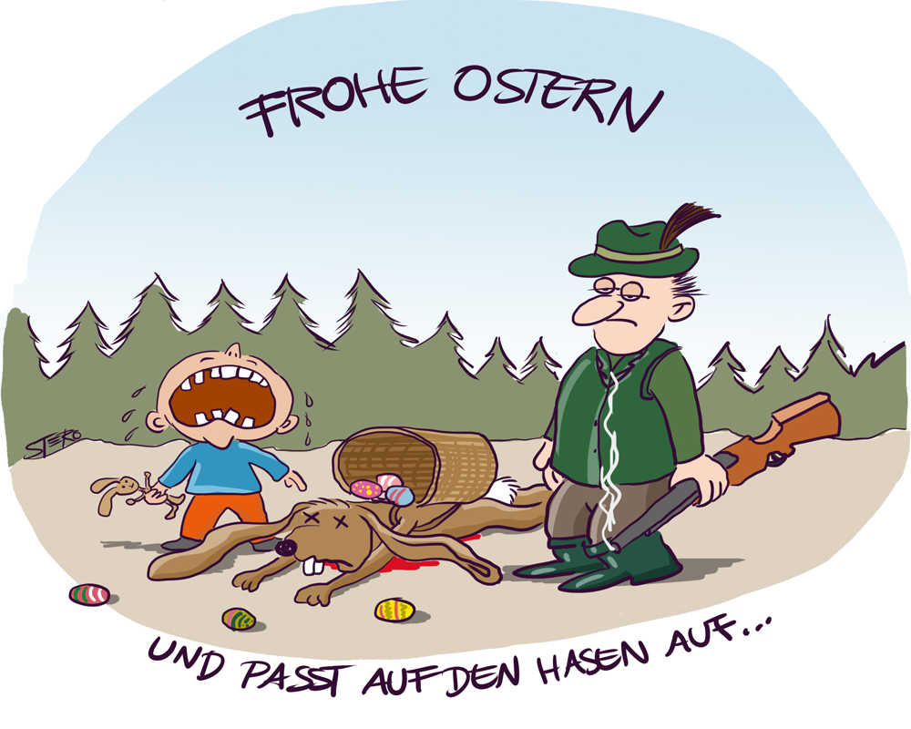 Cartoon: Jäger erlegt Osterhase