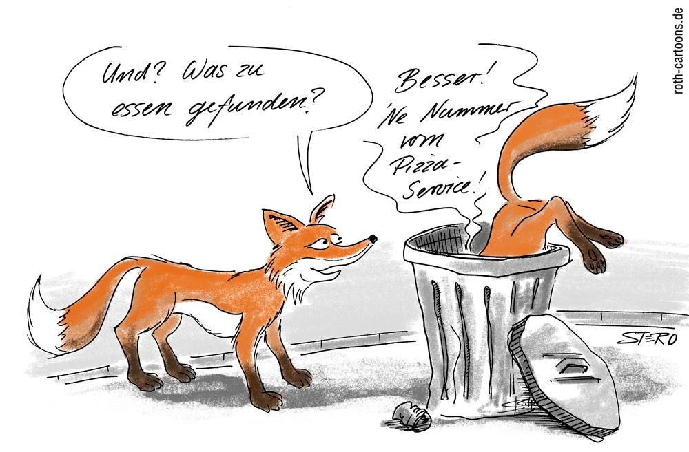 CArtoon: Fuchs sucht nach Essensresten