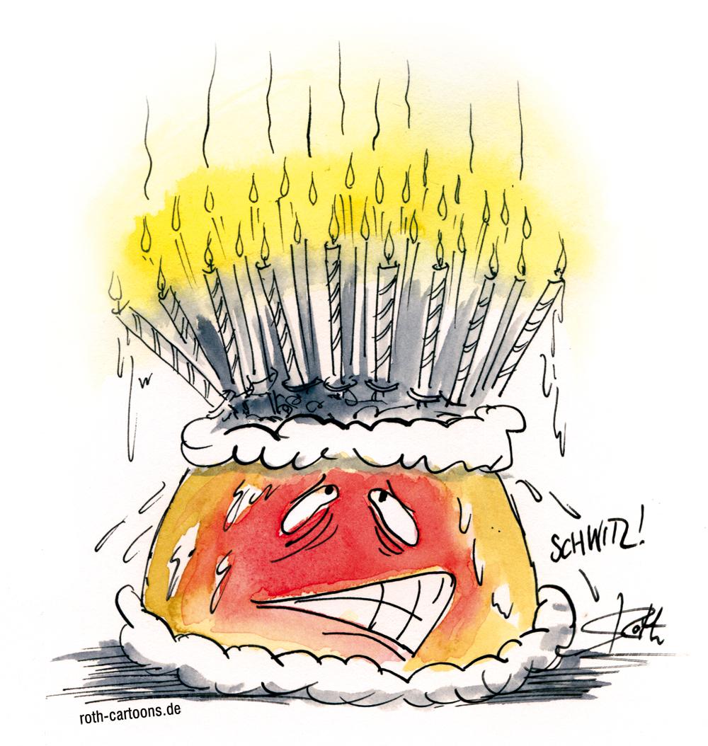 Cartoon/Illustration schwitzender Geburtstagskuchen Geburtagstorte
