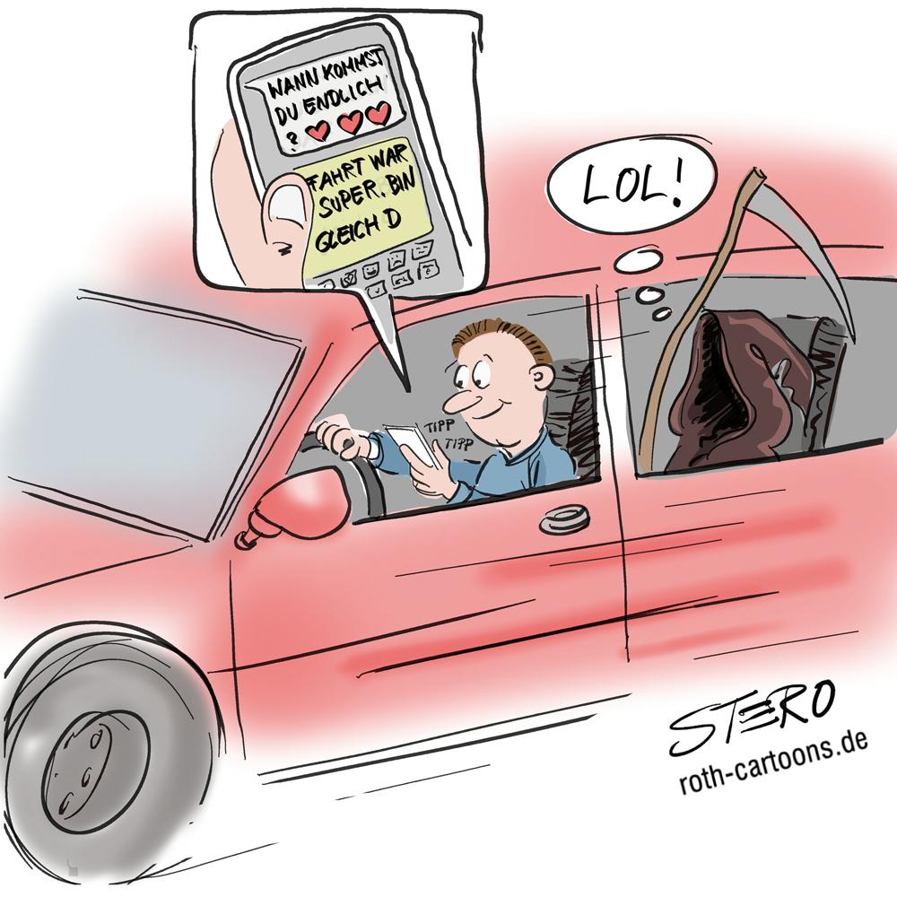 Cartoon: Mann tippt am Handy während der Fahrt
