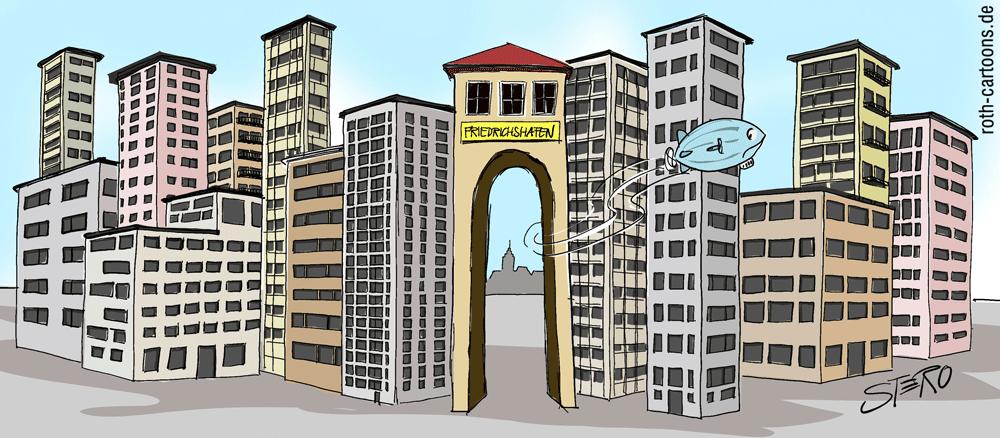 Cartoon-Hochhausstadt