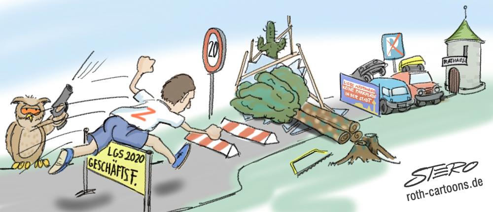 Cartoon/Karikatur: Hürdenlauf des neuen Oberbürgermeisters Zeitler in Überlingen