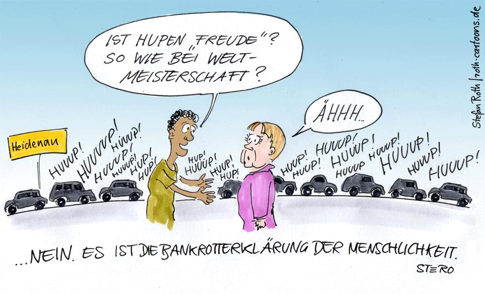 Hupkonzert bei Besuch eines Flüchtlingsheim durch Merkel