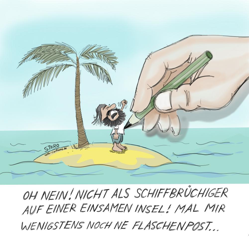 Cartoon Inselwitz: Schiffbrüchiger steht auf einer Insel und wird gezeichnet.