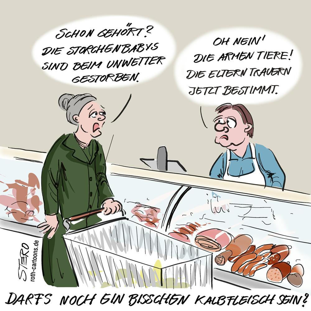 Cartoon: Kalbfleisch-tierbebys