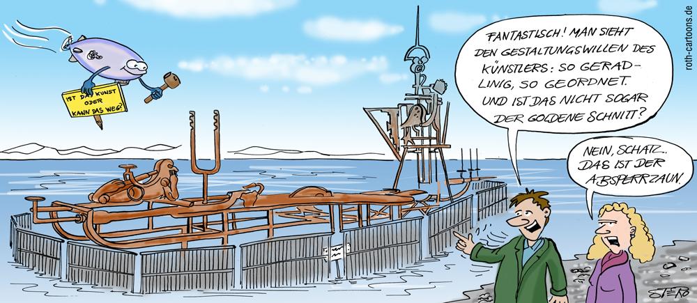 Cartoon des Klangschiffs Friedrichshafen am Bodensee
