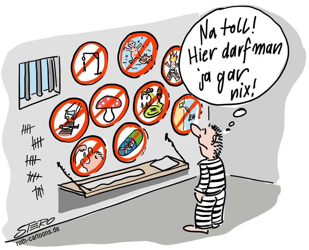 CArtoon zur Debatte über Suizidprävention in Gefängnissen.