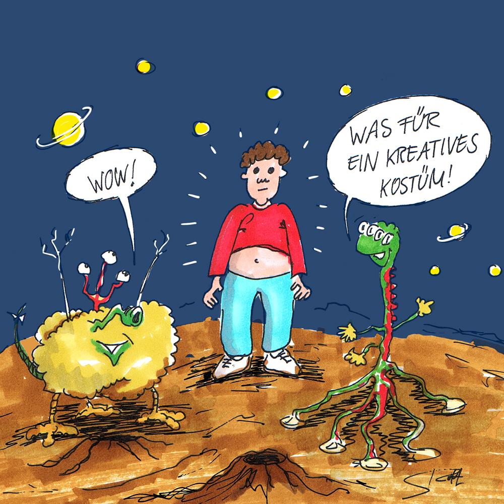 Cartoon-Karikatur. Ein Alien als Mensch verkleidet auf einem intergalaktischen Kostümball