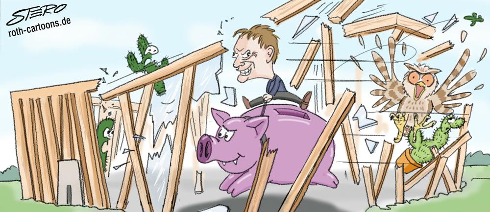 Cartoon/Karikatur: Bürgermeister Längin reitet auf einem Sparschwein das Kakteenhaus in Überlingen nieder.