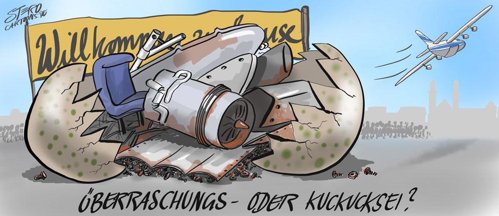 Cartoon zur Anlieferung der Landshut mit einer Antonow 124