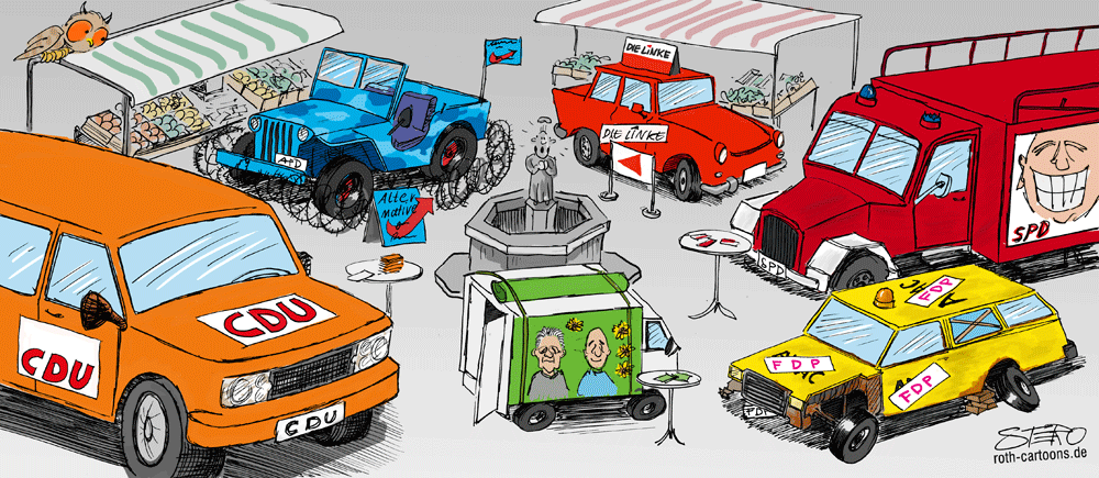 cartoon - autos parken sich zu