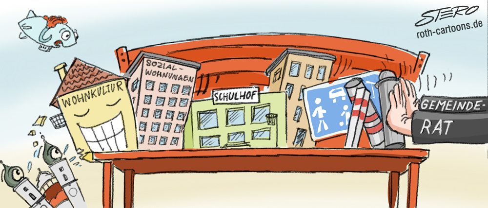 Cartoon/Karikatur: auf die lange Bank schieben/Prokrastination/Aufschieberitis