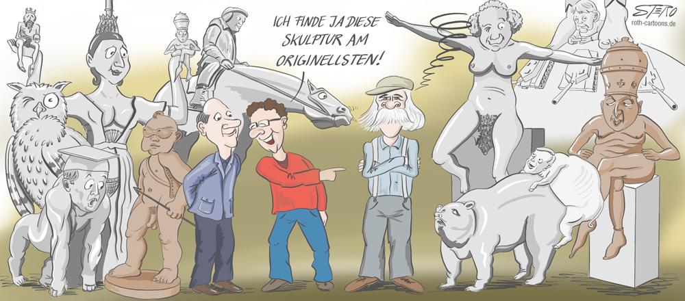 Karikatur zum 70sten Geburtstag von Peter Lenk