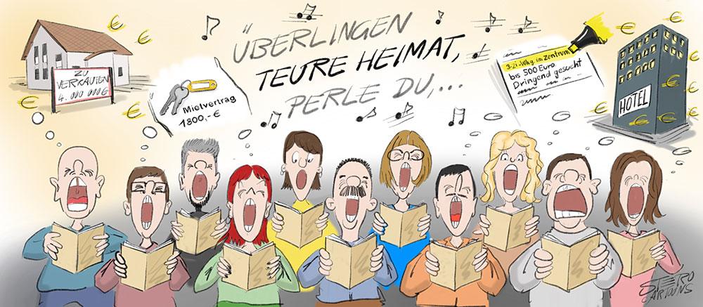 Cartoon-Karikatur-Comic-Singende Menschen/Chor