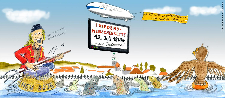 cartoon comic menschenkette für den weltfrieden - roth