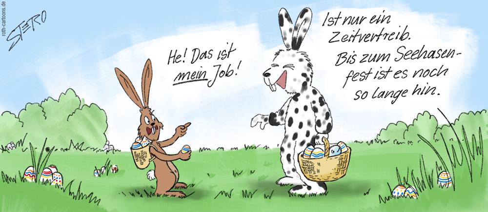 Cartoon: Seehase trifft aus Osterhase
