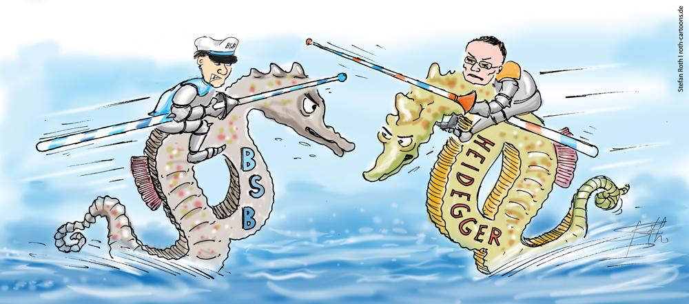 Karikatur Seepferdchen als Paragraphen beim Ritterturnier