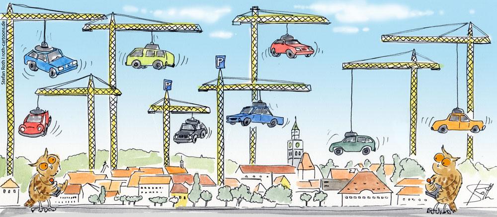 Wäre och auch eine Lösung - Parkkräne ...