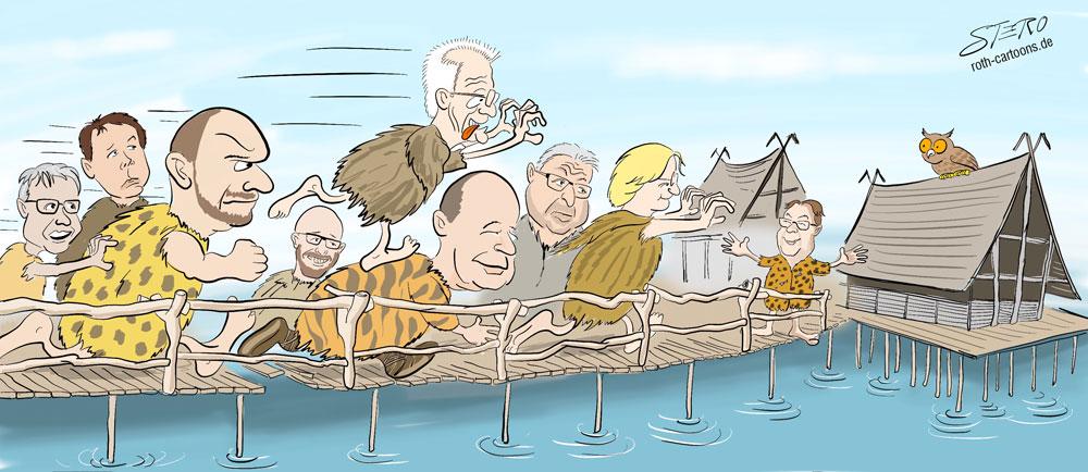 Cartoon-Karikatur-Comic Menschen rennen auf die Überlinger Pfahlbauten zu