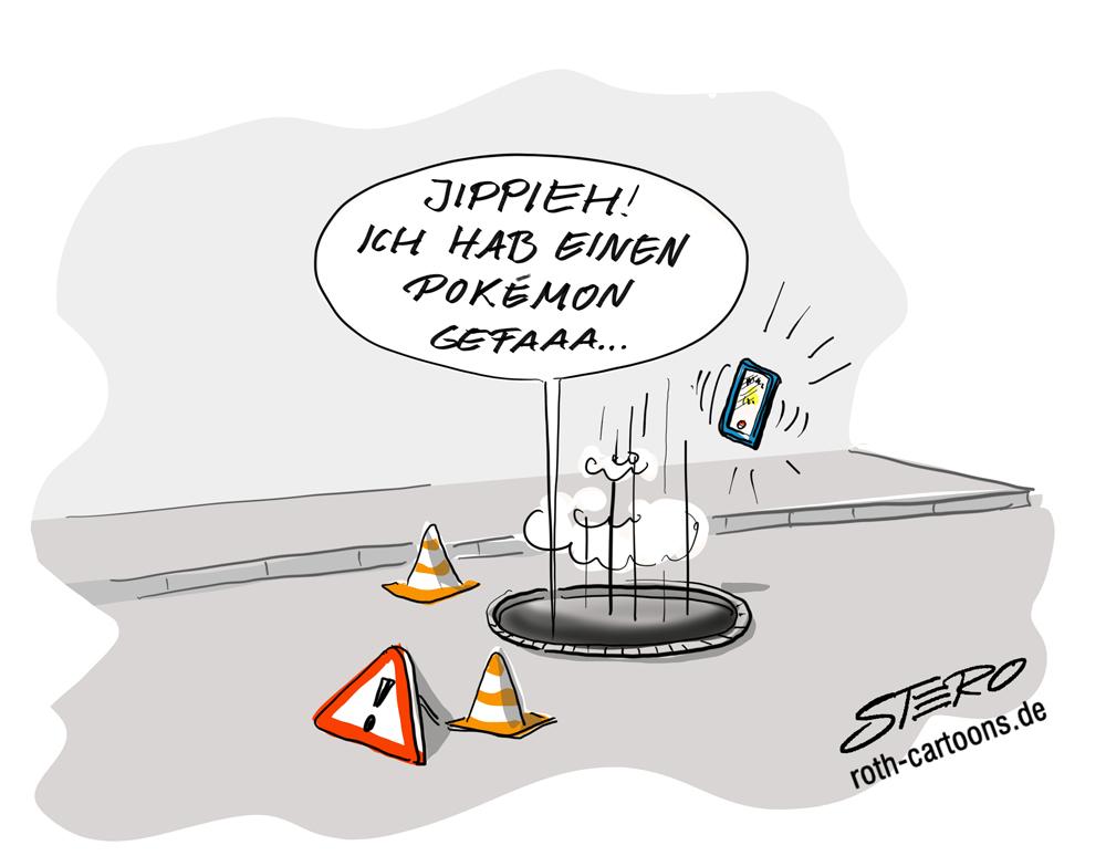 Cartoon: Mensch fällt in Kanalschacht