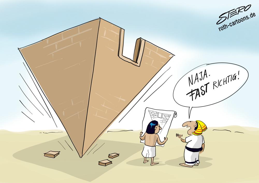 Cartoon: Pyramide verkehrt herum gebaut
