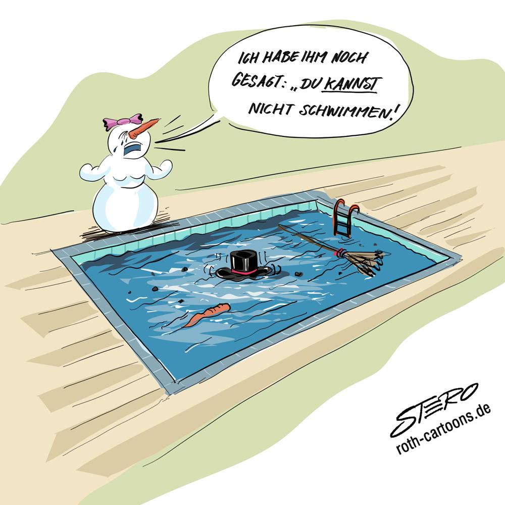 Cartoon: Schnemann im Pool