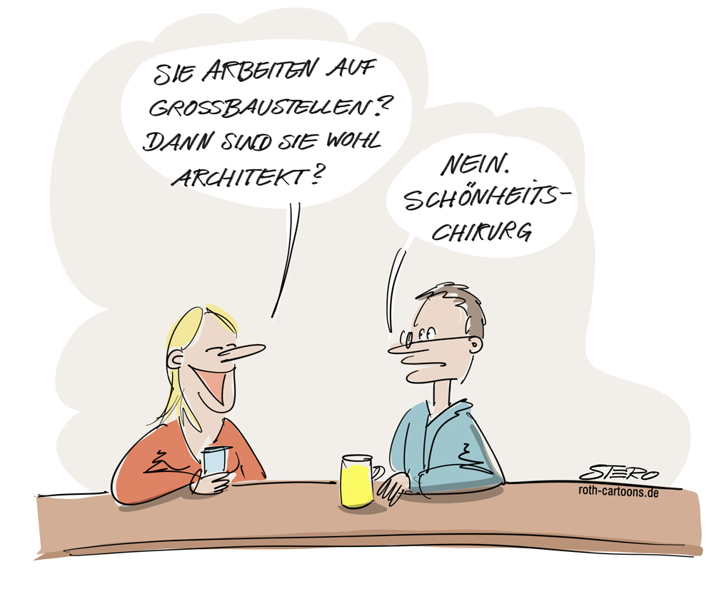Cartoon-Karikatur-Comic-Großbaustelle-Kneipenszene