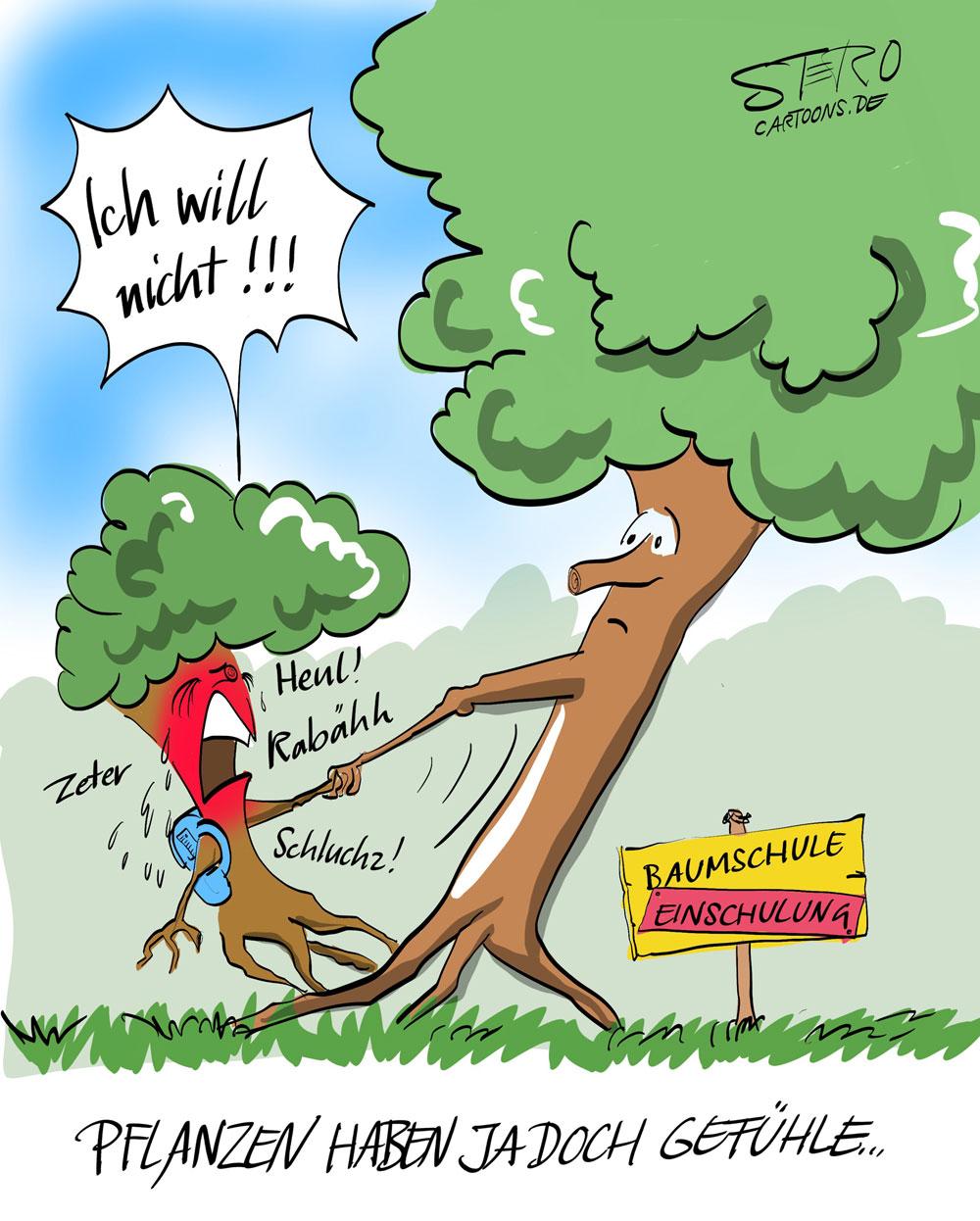 Cartoon: Pflanzen haben Gefühle.