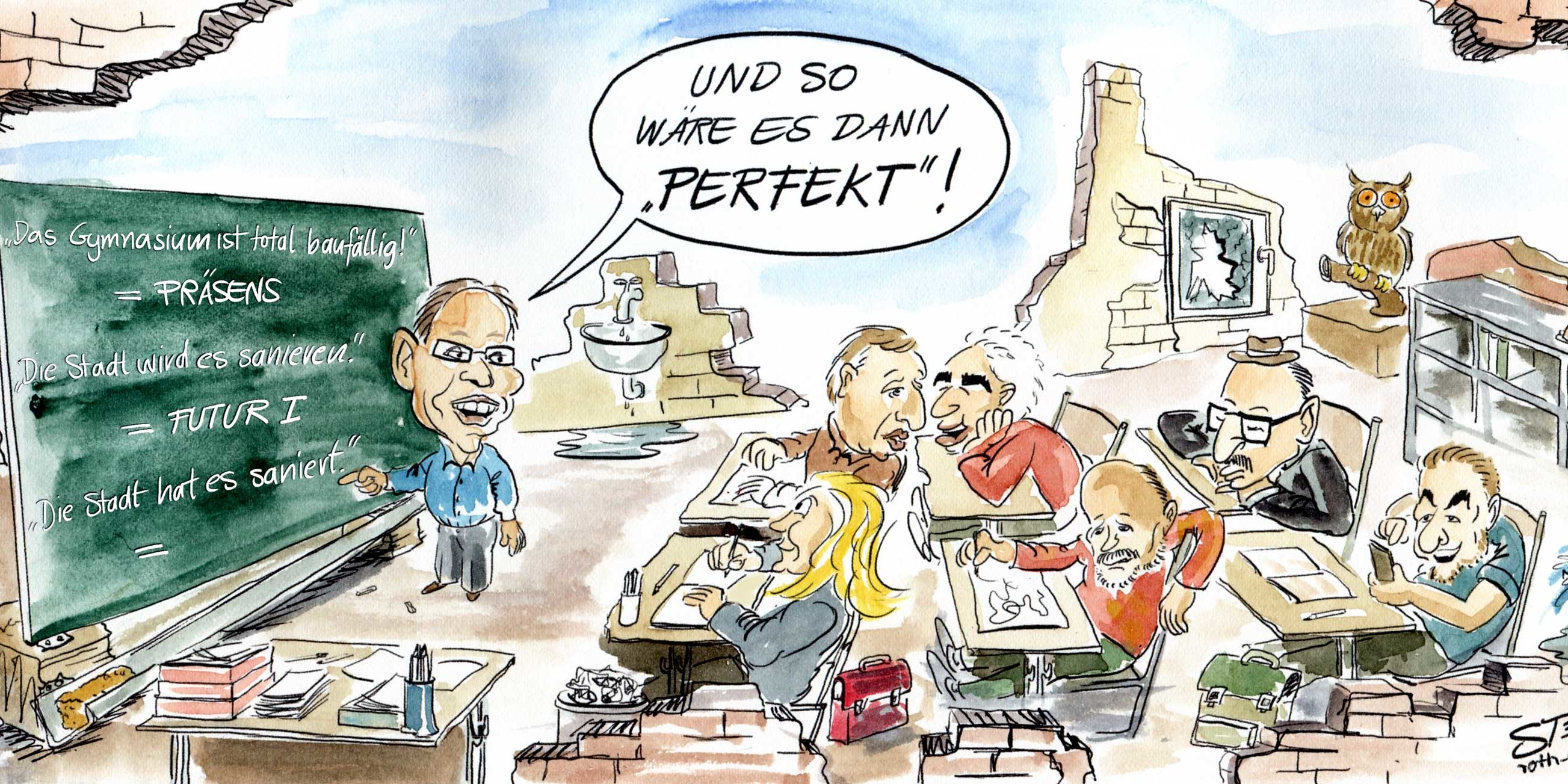 Baufallige Schule Cartoons Comic Karikaturen Illustration