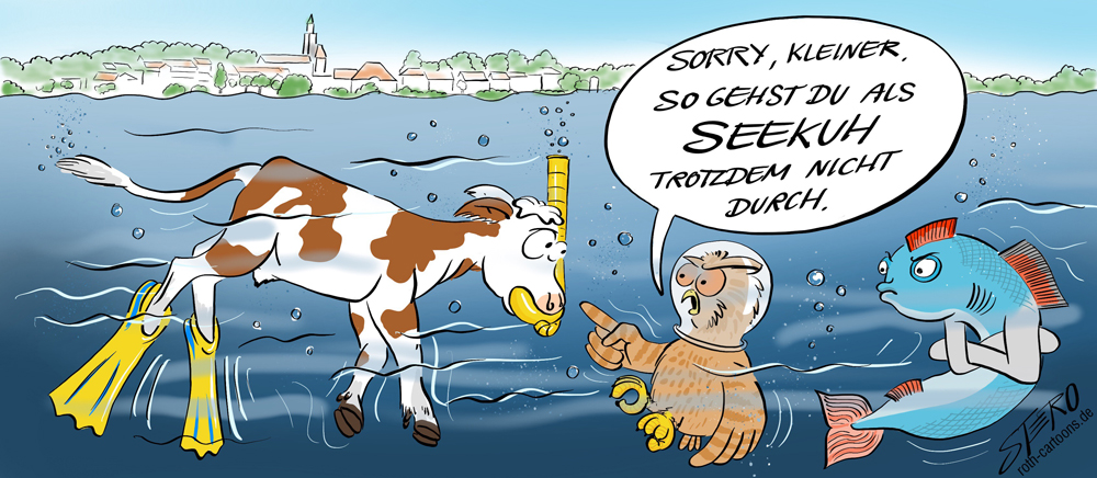 Cartoon-Comic- entlaufener Stierkalb rennt in den Bodensee