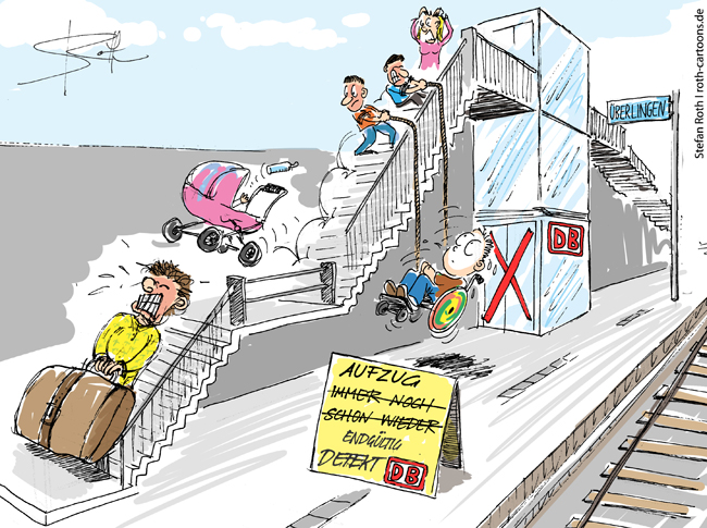 Cartoon Bahnhof Überlingen