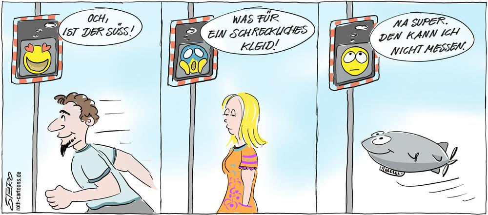 Cartoon: Geschwindigkeitsmesser mit Smiley