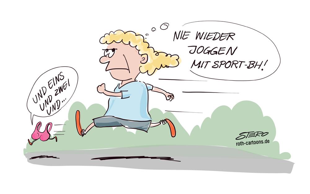 Cartoon-Comic-Karikatur Sport bHund Joggen
