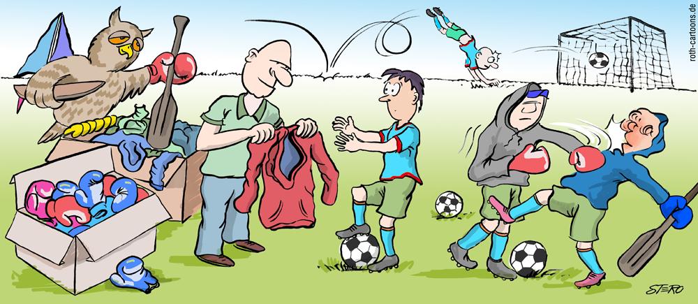 Cartoon: Sportler auf Sportplatz