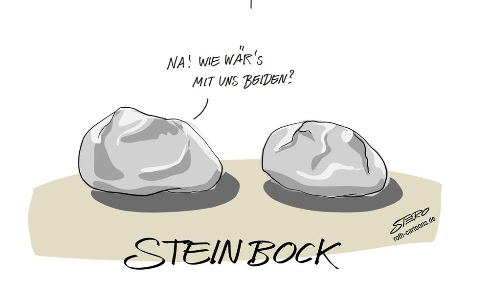Cartoon-Comic-Karikatur-Steinbaock