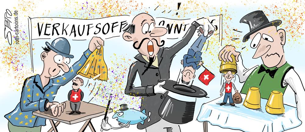 Cartoon-Karikatur-Comic Straßenzauberer