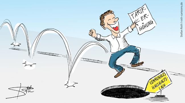 Cartoon Tariferhöhung im öffentlichen Dienst - trotz Haushaltsloch.