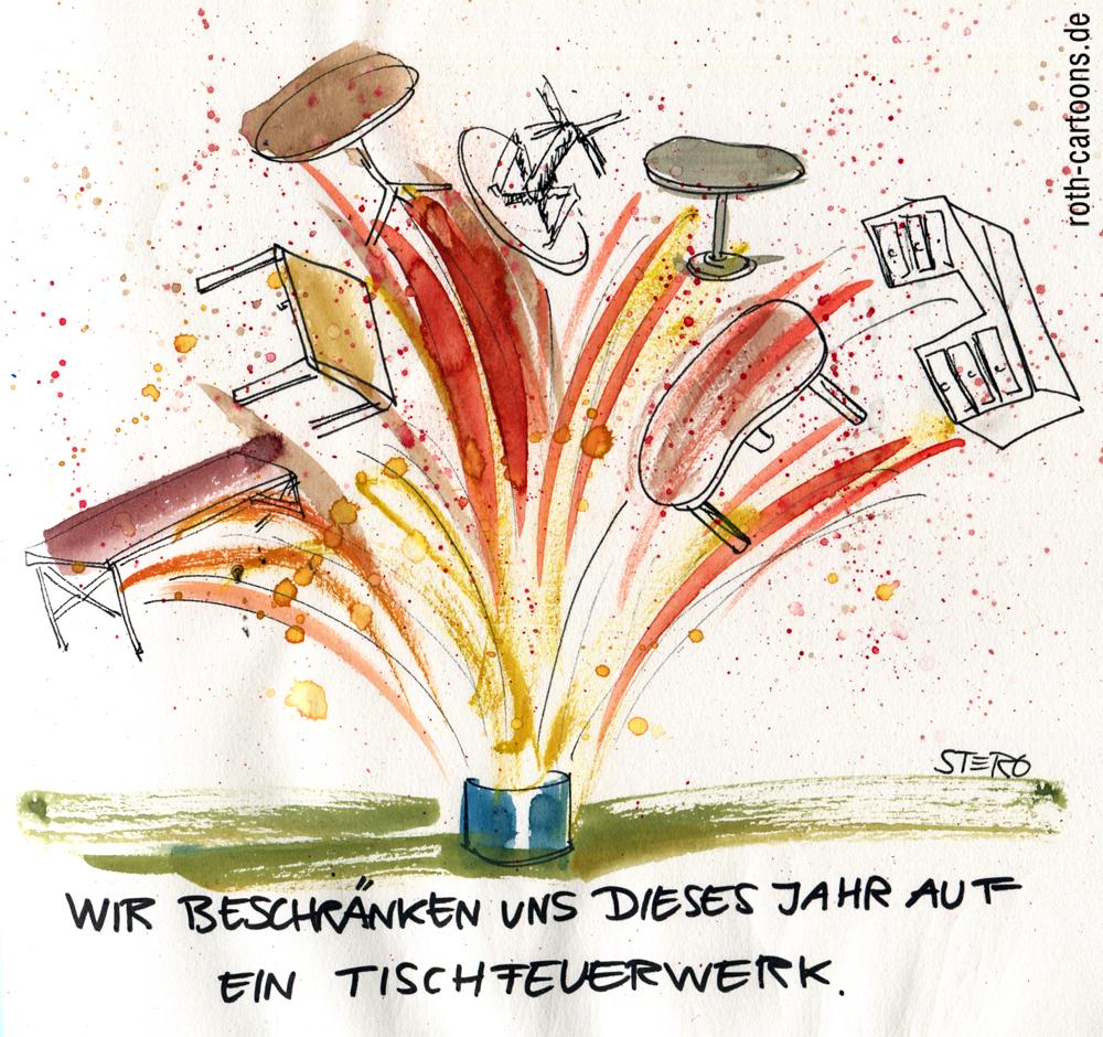 Cartoon: Tischfeuerwerk
