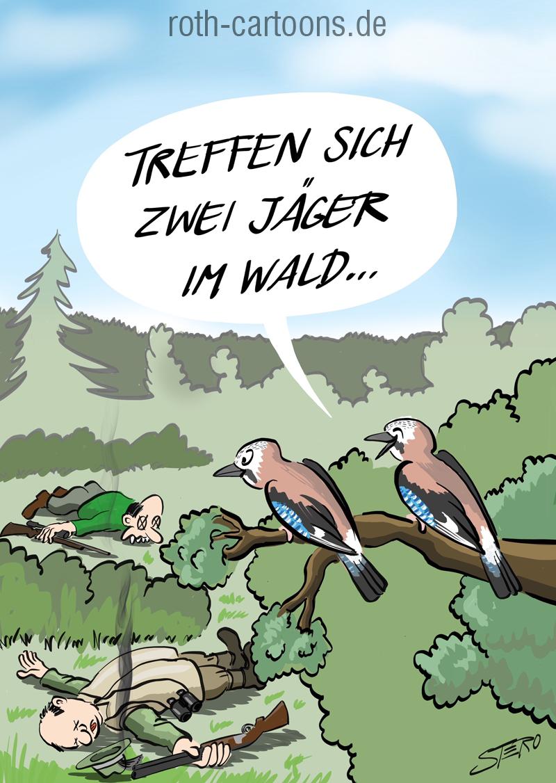Cartoon-Karikatur-Comic-Treffen sich zwei Jäger