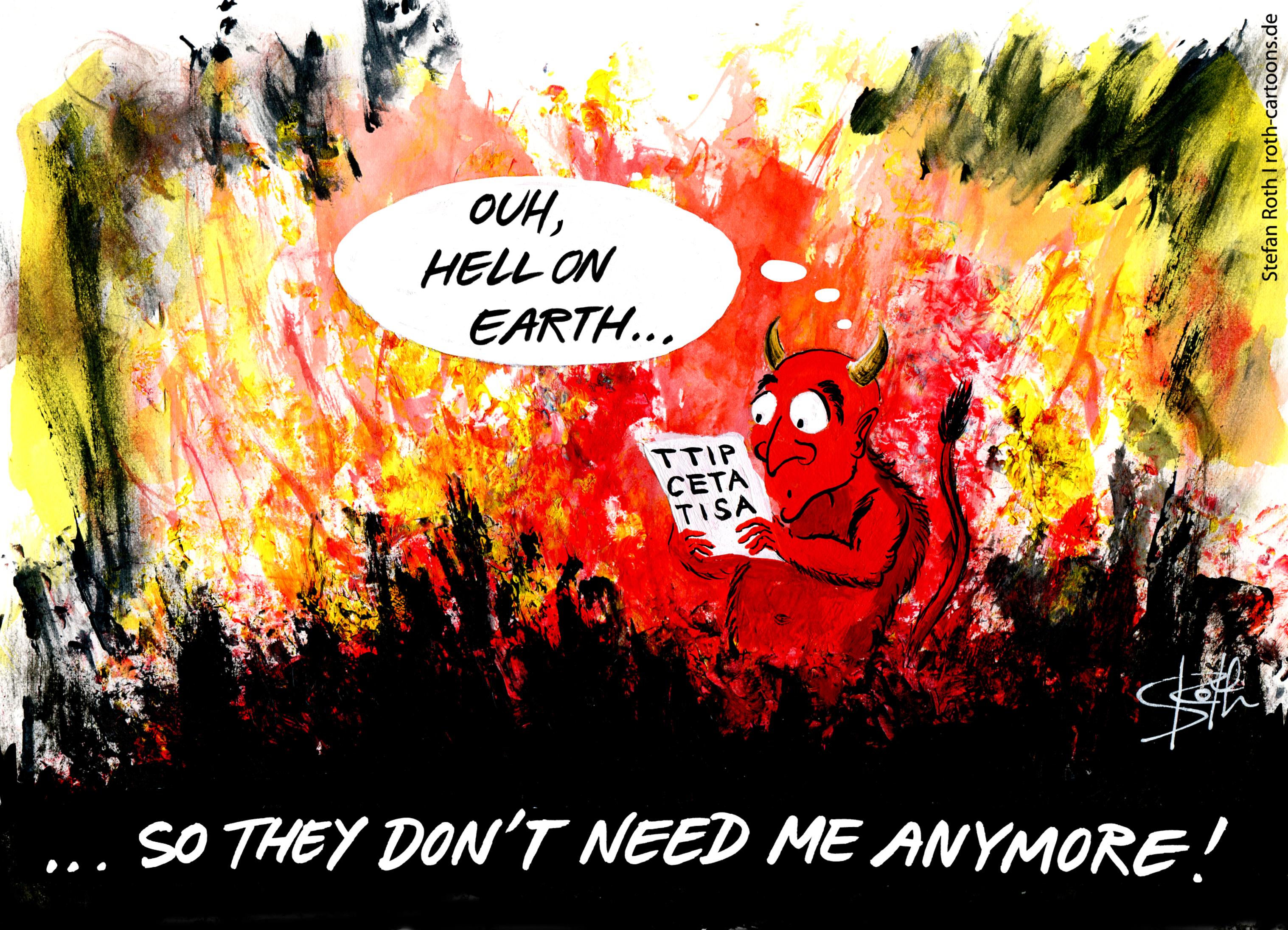 cartoon devil in hell